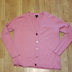 Salmon pink Talbots cable knit cotyon cardigan 1X
